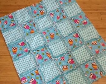On a Whim Owl Baby Blanket / Raggedy Quilt