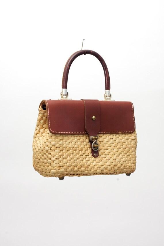 HOLD Vintage Basket Purse Woven HandBag Leather Strap