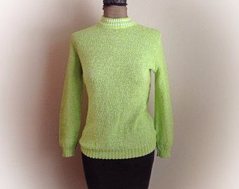 Vintage 1970s Knit Sweater Lime Green Carol Brent Montgomery Ward