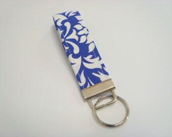 Wristlet Key Fob / Key Chain - Purple Damask