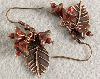 Copper Leaf Dangle Earrings - Red Picasso Flower Beads