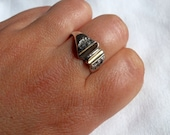 Handmade Sterling Silver Ring with gold plated part