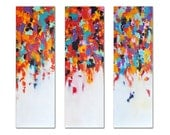 "Original Large Abstract Painting, Rainbow Triptych Wall Art UNSTRETCHED Rolled in a tube 36""x36"""