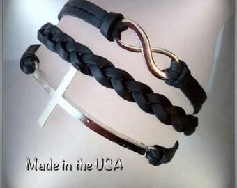 Infinity and Sideways Cross bracelet, Charm bracelet, Friendship bracelet