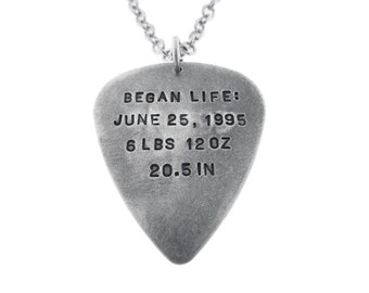 Men's Silver Guitar Pick Necklace Hand Stamped Birth Stats Pendant Musician Dad Jewelry Personalized Custom Engraved Artisan Handmade Fine