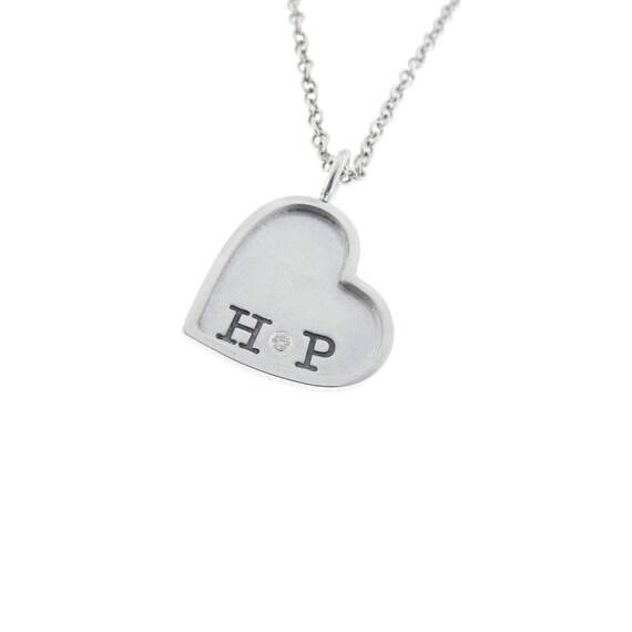 Silver Rimmed Monogram Diamond Necklace Hand Stamped Solid Sterling Framed Pendant Engraved Artisan Handmade Fine Designer Fashion Jewelry