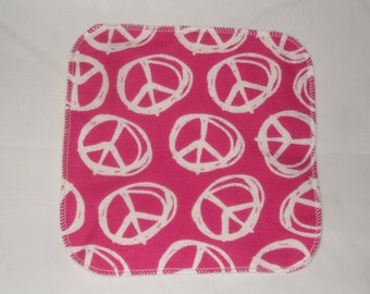 6 Peace sign  flannel wipes