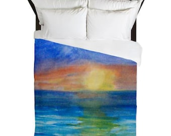 Ocean Sunset Beach Duvet Cover from my art. Available in twin,queen and king sizes