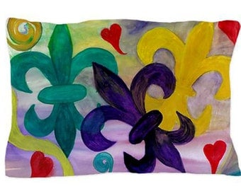 Mardi Gras Fleur de lis Pillow Case from my original art