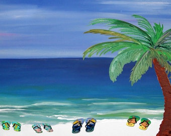Palm tree and Flip flops Beach Towel from my art