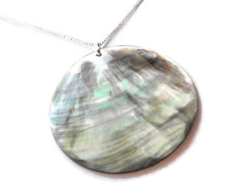 MOP Shell pendant necklace, 20 inch silver chain with black lip mother of pearl shell necklace