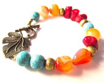 Gemstone boho bracelet, coral carnelian african brass bracelet, colorful stone bracelet with antique brass leaf clasp, gypsy beaded jewelry