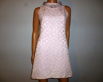 "Vintage 50's or 60's - Iced Pink - Brocade - Embellished - Shift - A-line - Mod - Mini - Dress and Swing Coat Set -  Bust 35"""