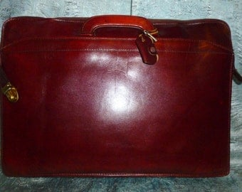 Antique - Vintage -  50's  - Skeleton Key Lock - Large - Deep Burgundy - Thick -  Leather  - Attache' - Briefcase - Bag - Tote