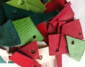 leather scraps, red, white, green