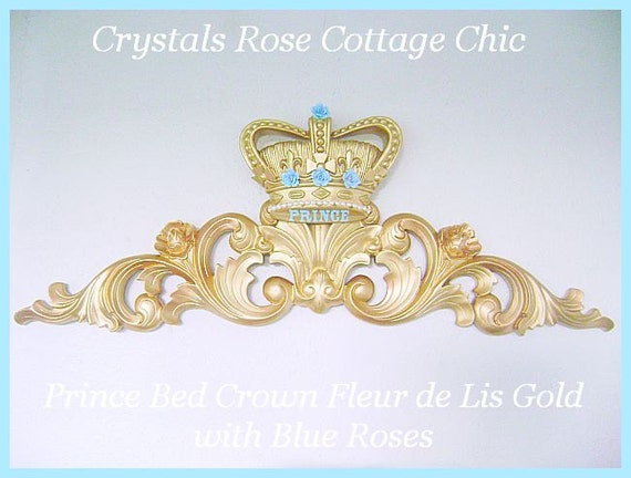 Like this item? & Prince Bed Crown Canopy Fleur De Lis Blue Roses Baby Boy