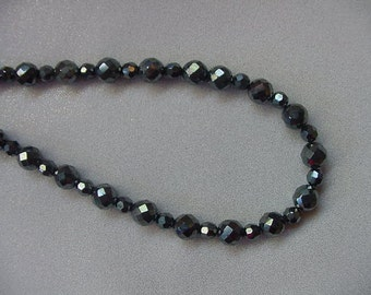 17 inch long faceted round black Hematite gemstone Beads bead beaded Necklace jewelry V475-17