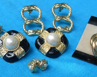 Lot 5 pair Vintage Earrings Gold Color Some Pearls Pierced One Pr Clip