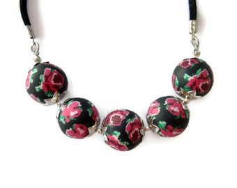 Unique Red Roses Necklace and Earring -  Handmade Polymer Clay Beads with suede leather cord - one of a kind