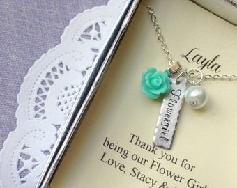 Flower girl gifts, small sized rose necklace. Comes with FREE personalized notecards, free jewelry box.