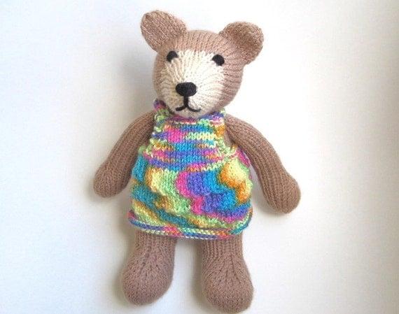 Knitting Patterns Teddy Bear Stuffed Animals : Hand Knit Teddy Bear Plush Stuffed Animal Doll Knit Animal