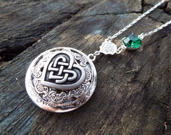 Celtic Love Knot - Sterling Silver Plated Locket, American Pewter Celtic Heart Knot Pendant Locket Necklace