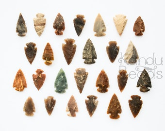 "Indian Arrowheads Hand Knapped Jasper, Brown Earthy Colors aprox 1"" for wire wrapping"