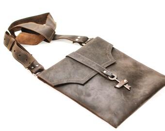 Brown Leather Messenger Bag - Distressed Leather Satchel - Skeleton Key Antique Hardware Steampunk Boho Bag - IN STOCK