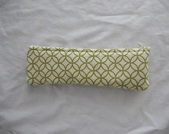 Zipper Pouch for Pencils, Crochet Hooks, or Double-pointed Needles - Green diamond lattice
