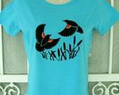Red-Winged Blackbirds Ladies T Shirt Aqua