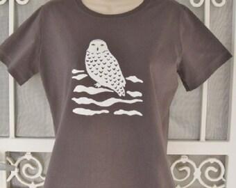 Snowy Owl Ladies T Shirt on Charcoal Grey