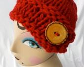 Crimson Red Side Button Hat