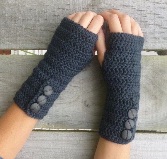Knitting Pattern For Hobo Gloves : Items similar to PDF PATTERN for Long Crochet Button-up Arm Warmers - Fingerl...