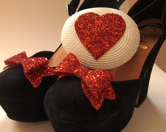 Glittery red heart fascinator and shoe clips - Glitter bows - glitter stars hair accessory - shoe clips - Valentines accessory