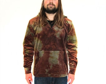 SALE Handmade Mens and Womens Tie Dyed Cord Poncho with Pearl Snaps Size S-L/XLmade by Lazy Smoke