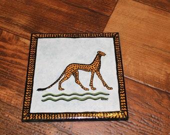 Vintage Cheetah Hand Painted Ceramic Tile Trivet