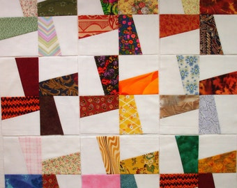 Windmill Pieced Quilt Blocks in Scrappy Colors