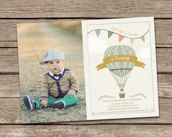 Birthday Invitation : Hot Air Balloon Boy Birthday Invitation, First Birthday Invitation, Up Up and Away, Boy Birthday Invitation