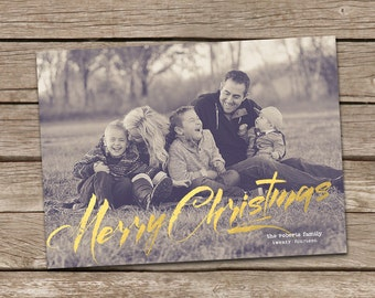 Photo Christmas Card : Caligraphy Gold Foil Faux Effect Merry Christmas Custom Photo Holiday Card Printable