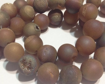 10mm Druzy type round beads peach matte titanium coated