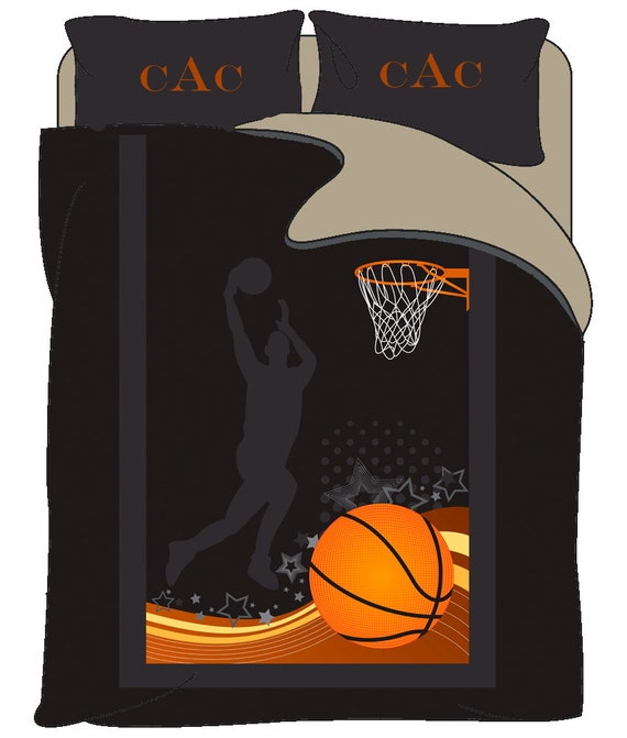 Monogrammed Basketball bedding Jumpshot Personalized with