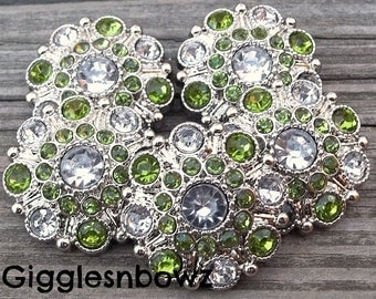 RHiNeSToNe BuTToNS- Set of 5 CRYSTaL CLeaR CeNTER w LiME GReeN/CLeaR Rhinestone Buttons Flower Centers Headband Supplies 27mm