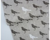 Gray Bird- Hand printed linen by the yard - Free shipping to USA
