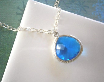 Royal Blue Necklace, Silver Necklace, Pendant Necklace, Summer Wedding, Wife Gift, Spring Wedding, Mother Gift