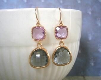 Pink Earrings, Grey Earrings, Gold Earrings, Lavender Earrings
