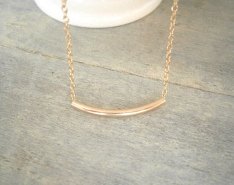 Gold Necklace, Gold Tube Necklace, Gold Bar Necklace, Minimalist Jewelry, Sister Gift, Mother Gift