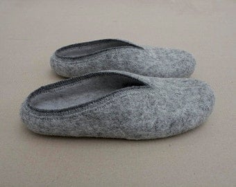 2Rabbits  Natural light grey hand felted felted wool clogs slippers