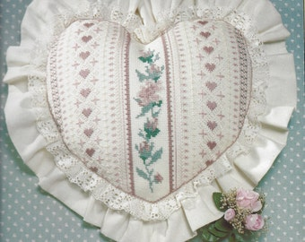 """Vintage Sunset Counted Cross Stitch Kit 2997, Country Rose Pillow by Dawne Marshall Cooley, 13"""" x 13"""" Heart"""