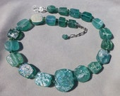 Ancient Roman Glass Necklace in Aqua and Teal