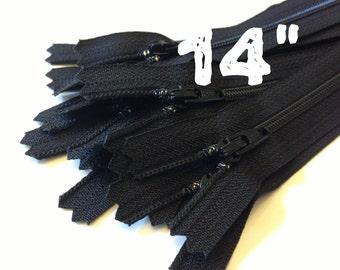 14 Inch black YKK zippers, 25 pcs, YKK color 580, dress, pouch zippers, sewing supplies